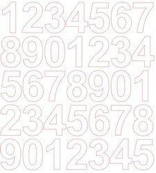 Cyfry samoprzylepne 4 cm białe z połyskiem