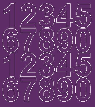 Cyfry samoprzylepne 5 cm fioletowy z połyskiem