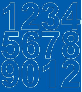 Cyfry samoprzylepne 7 cm niebieski matowy
