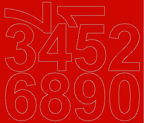 Cyfry samoprzylepne 8 cm czerwone z połyskiem