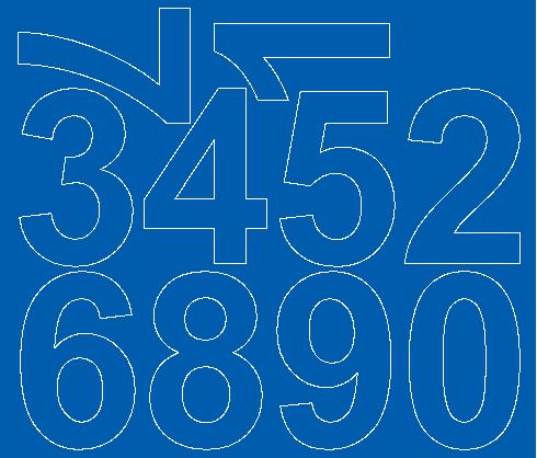 Cyfry samoprzylepne 8 cm niebieski matowy