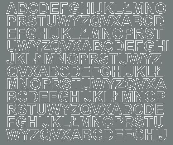 Litery samoprzylepne 1.5 cm szary z połyskiem