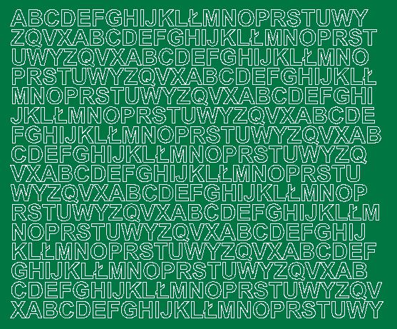 Litery samoprzylepne 1 cm zielone z połyskiem
