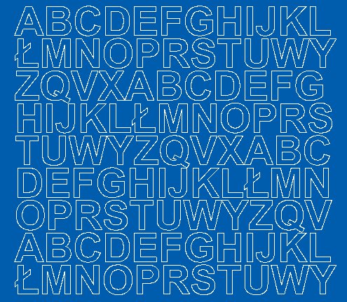 Litery samoprzylepne 2 cm niebieski z połyskiem