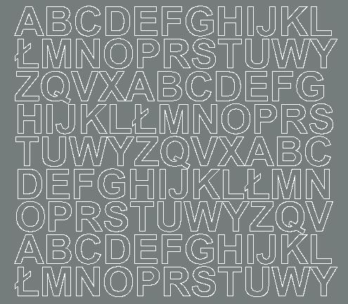 Litery samoprzylepne 2 cm szary z połyskiem