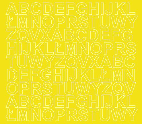 Litery samoprzylepne 2 cm żółty z połyskiem