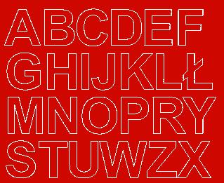 Litery samoprzylepne 4 cm czerwone matowy