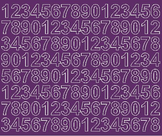 Cyfry samoprzylepne 2 cm fioletowy z połyskiem