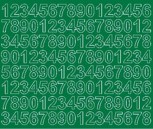 Cyfry samoprzylepne 2 cm zielone z połyskiem