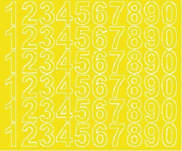 Cyfry samoprzylepne 3 cm żółty z połyskiem