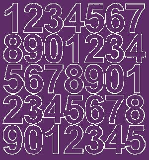 Cyfry samoprzylepne 4 cm fioletowy z połyskiem