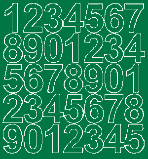 Cyfry samoprzylepne 4 cm zielone z połyskiem