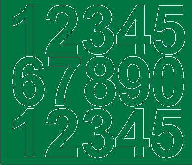 Cyfry samoprzylepne 6 cm zielone z połyskiem