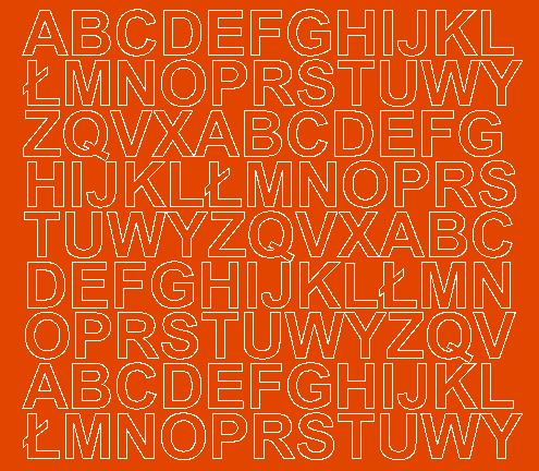 Litery samoprzylepne 2 cm pomarańczowy z połyskiem