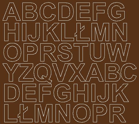Litery samoprzylepne 3 cm brązowy z połyskiem