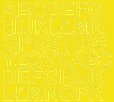 Litery samoprzylepne 3 cm żółty z połyskiem