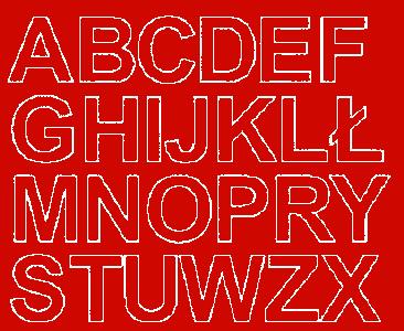 Litery samoprzylepne 4 cm czerwone z połyskiem